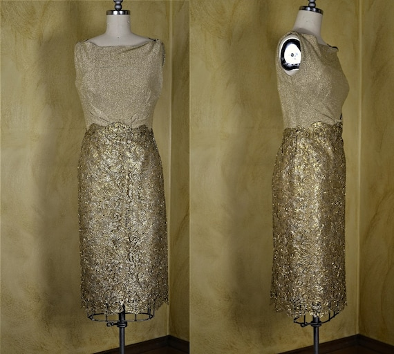 1960s Norman Hartnell Couture Gold Lace Dress - image 2