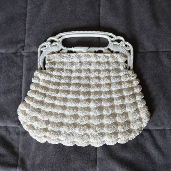 1930s Cream Crochet Bag with Celluloid Handles