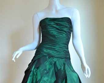 SUMMER SOLSTIC SALE 1980s Tadashi Green Iridescent Ruched Taffeta Party Dress with Crinoline