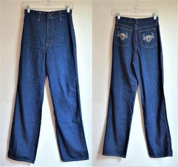 1970s High Waist Wide Leg Womens Denim Blue Jeans