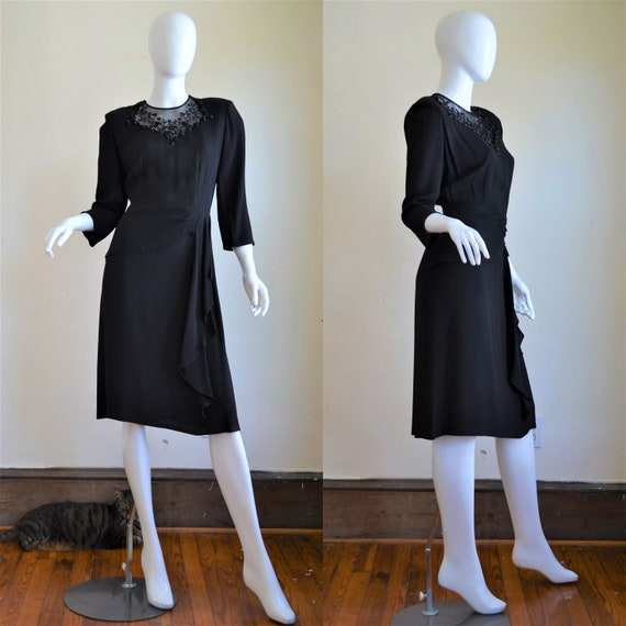 1940s Black Moss Crepe Dress with Sequin & Beaded