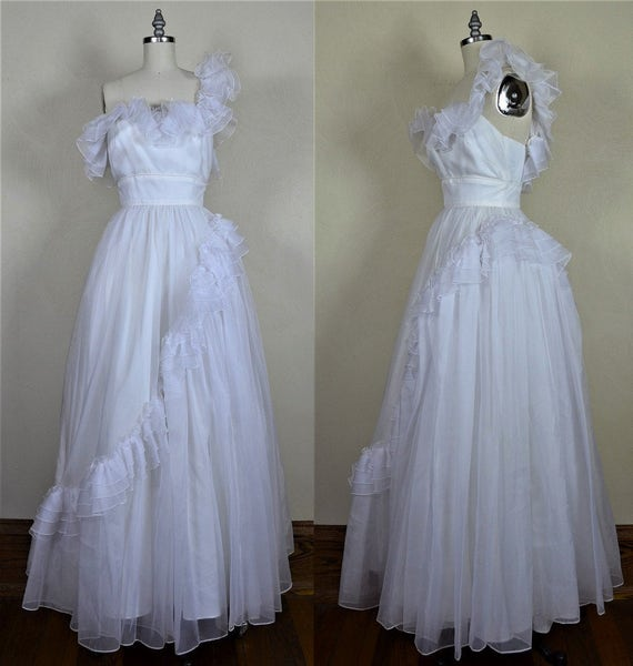 1960s Mike Benet One Shoulder Frilly & Frothy Whit