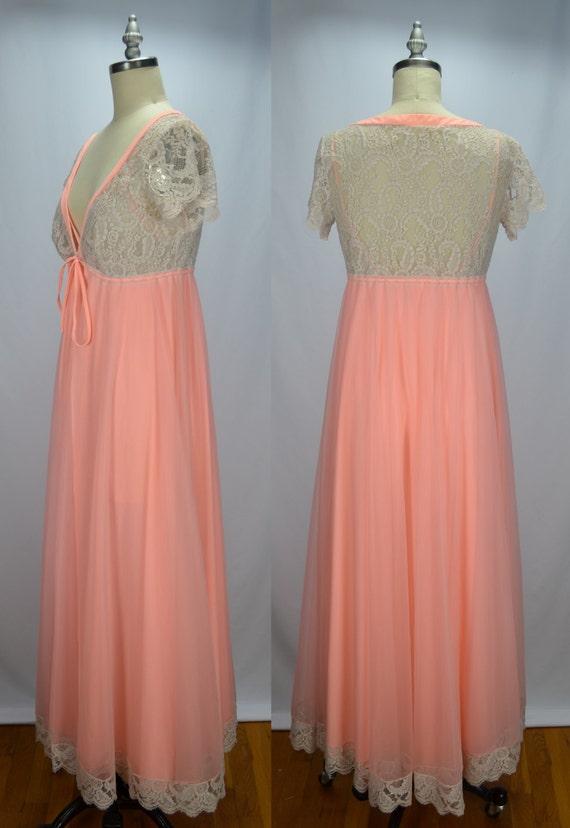 Lucie Ann Dreamy Peachy Pink 1960s Chiffon & Lace… - image 4