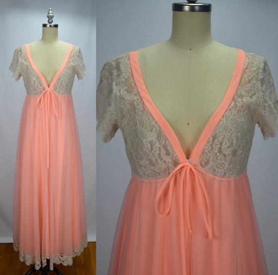 Lucie Ann Dreamy Peachy Pink 1960s Chiffon & Lace… - image 2