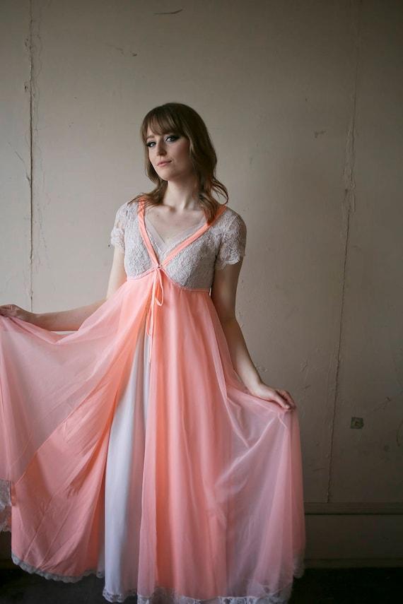 Lucie Ann Dreamy Peachy Pink 1960s Chiffon & Lace… - image 1