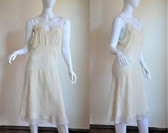 "SUMMER SOLSTIC SALE 1930s Cream Silk & Net Embroidered Bias Cut Slip Lovely Details! Bust 37"""