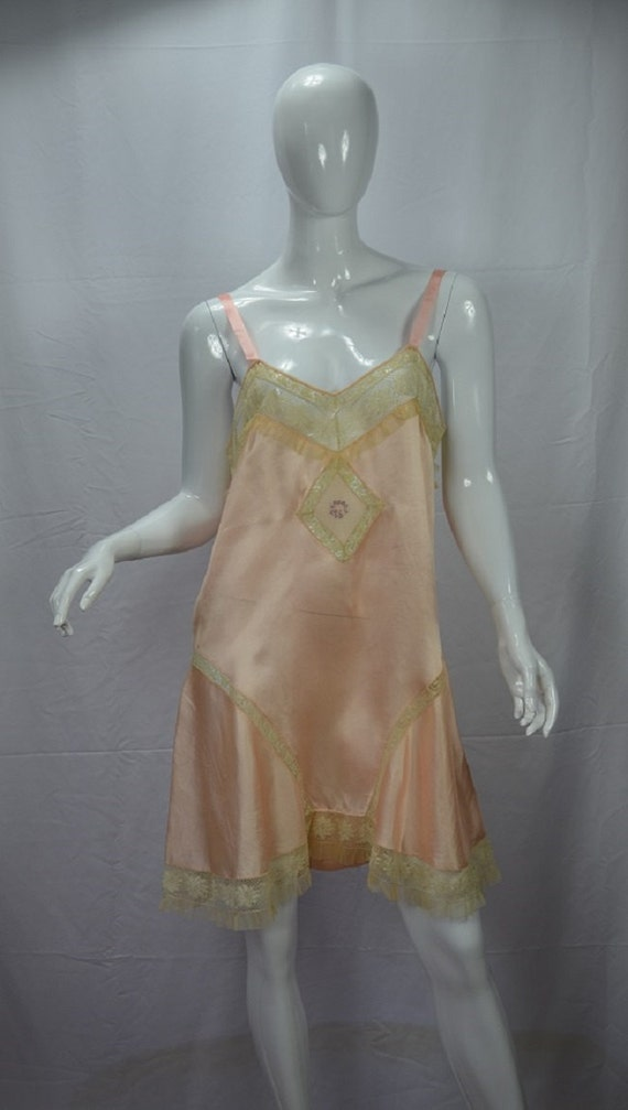 1920s Lovely Peachy Pink Silk and Lace Teddy Step