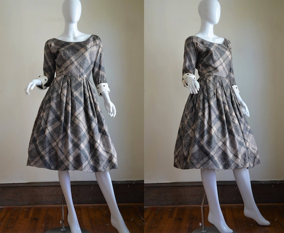 Lovely 1950s Silk Plaid Mr. Mort Day Dress with Hu