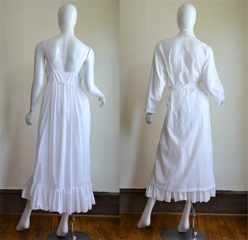 ON LAYAWAY 1980s Victoria/'s Secret Vintage Gold Label Cotton /& Lace Victorian Inspired Gown and Robe