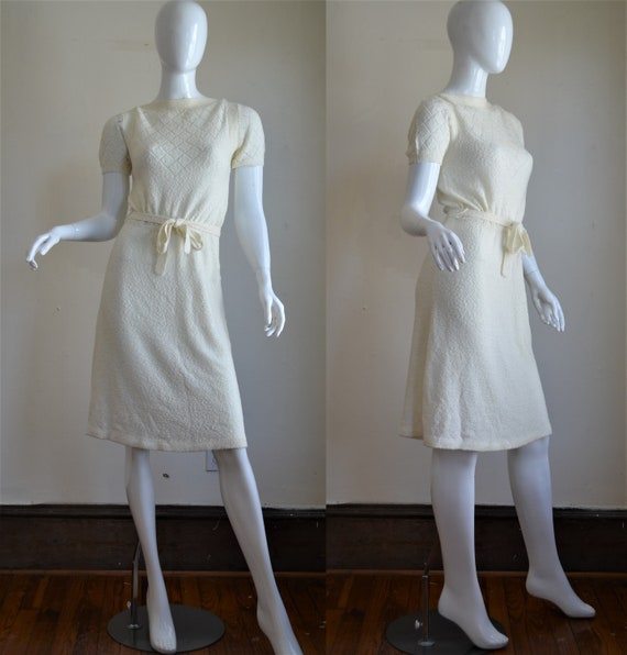 70s Does the 30s Cream Knit Dress with Matching Be