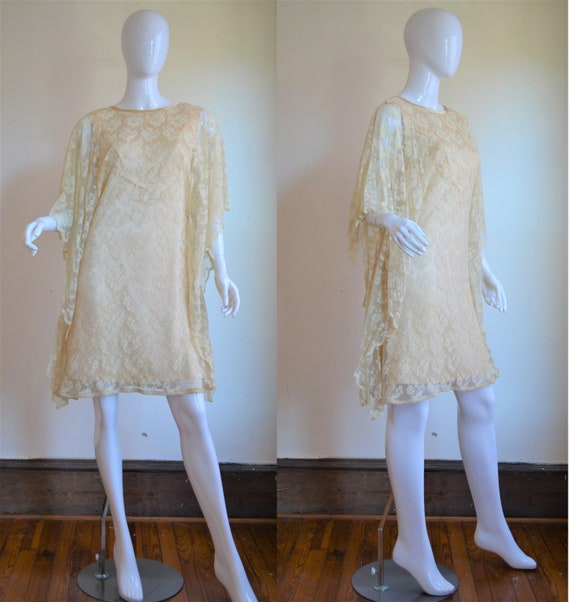 1960s Cream Satin Dress with Ethereal Lace Overlay