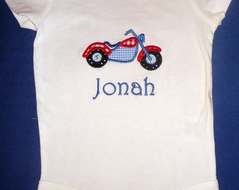 Appliqued onesie with motorcycle