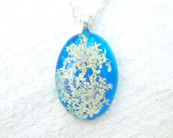 Queen Annes Lace Real Pressed Flower Jewelry Blue Glass Pendant Necklace