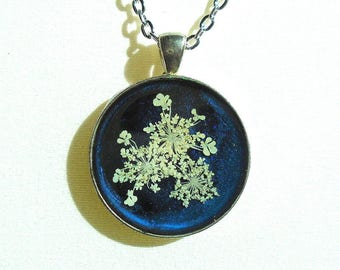Queen Annes Lace Real Pressed Flower Midnight Blue Resin Pendant Necklace