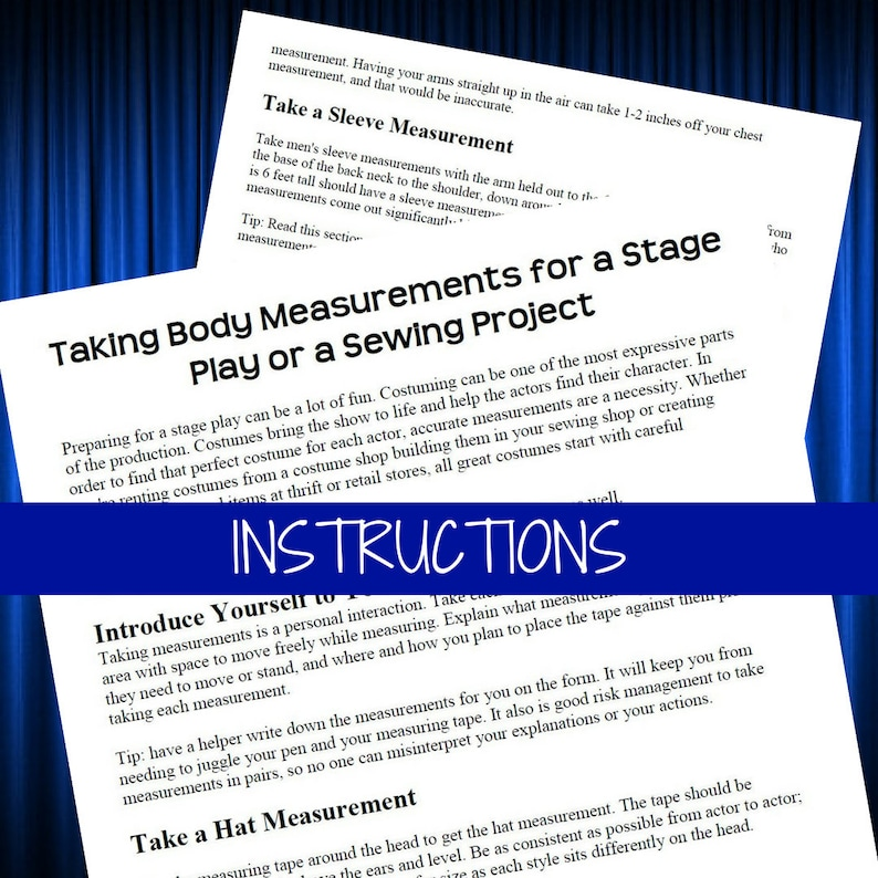 Printable Theater Costume Measurement Form Male And Female Etsy