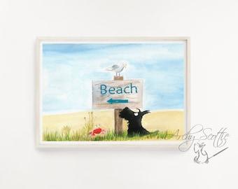 Scottie Dog Fine Art Print 'Beach'  Scottish Terrier #2 Scottish Terrier Decor Unframed