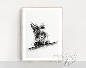 Happy Scottie Dog  Fine Art Print  Scottish Terrier #5 Scottish Terrier Decor