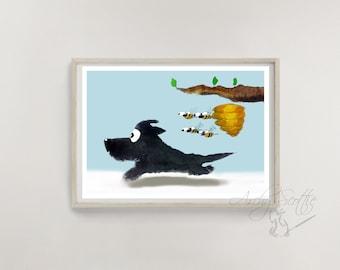 Scottie Dog 'Run Scottie, Run'  Fine Art Print #75 Scottish Terrier Bumble Bees Scottish Terrier Decor