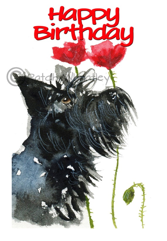 Scottie dog happy birthday art greeting card etsy image 0 m4hsunfo