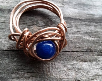 Jade Copper Ring Dyed Blue Size 8