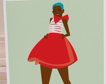 5x7 Blank Greeting Card Black Women Girl Wall Woman Cute Retro Mod  Print Carefree Feminine Dress Girls Red Green Fashion Model Gift For Her