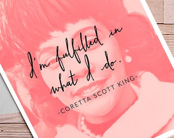Coretta Scott King 5x7 Blank Greeting Card Black History Month Womanist Art Feminist Quote Portrait Positive Women Typography Home Decor