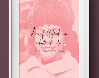 Coretta Scott King Black History Month Womanist Art Print Poster Feminist Quote Portrait Positive Women Typography Home Office Wall Decor