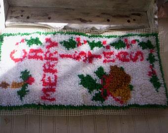 Vintage Christmas rug needlepoint/Unfinished Needlepoint rug/Holiday rug/Christmas yarn needlepoint/Uncompleted rug/Merry Christmas  rug