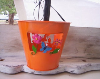 Orange Bucket/Metal pail bucket/Small metal bucket/Easter bucket/Candy bucket/Gift bucket/Candle bucket/Butterfly and Flower spring bucket
