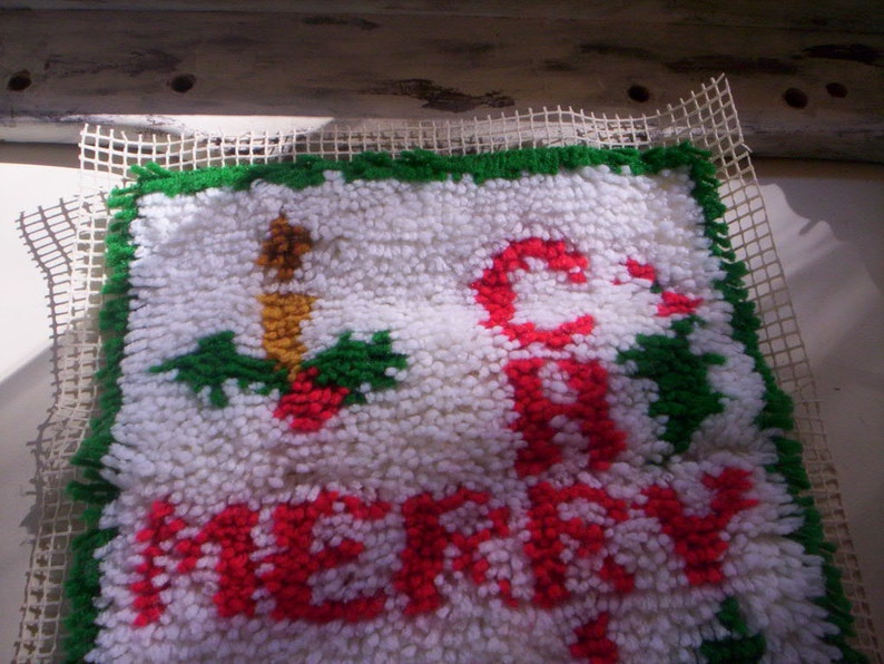 Vintage Christmas rug needlepointUnfinished Needlepoint rugHoliday rugChristmas yarn needlepointUncompleted rugMerry Christmas  rug