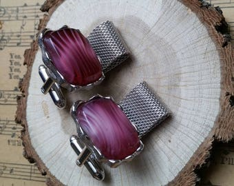 Dante pink art glass silver tone vintage cuff links retro