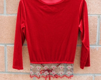 RED BLOUSE // BEADED Blouse // Vintage Long Sleeve blouse