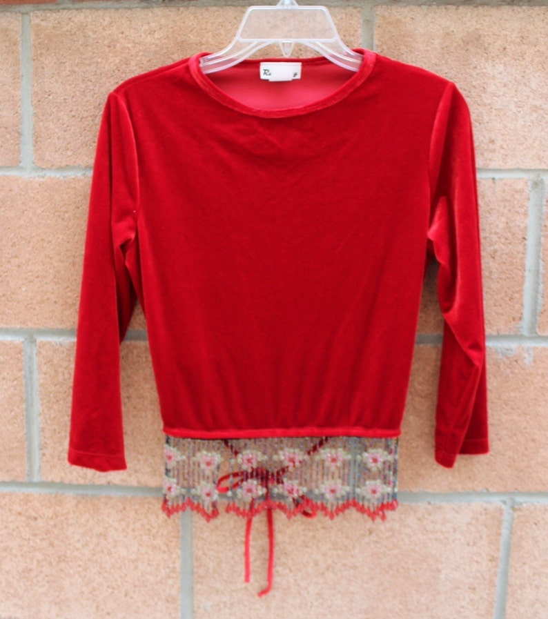 RED BLOUSE  BEADED Blouse  Vintage Long Sleeve blouse
