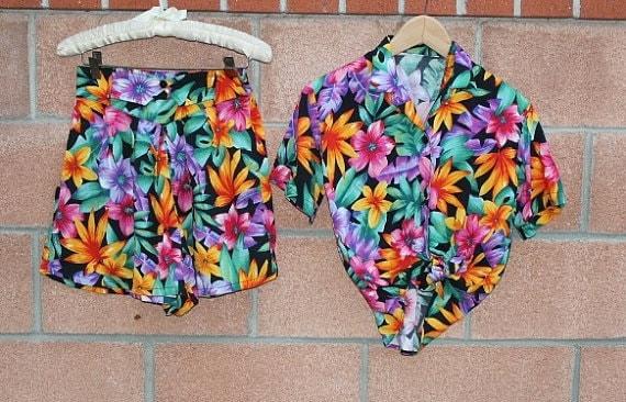 flower print  high waisted shorts set