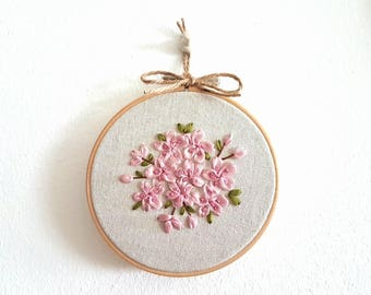 Cherry Blossom Sakura Hand Embroidery in hoop Ribbon Embroidery Wall Art