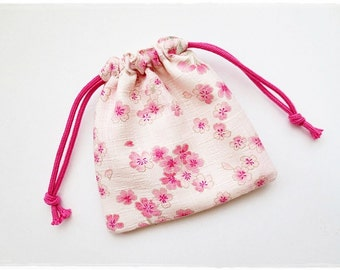 Small drawstring pouch japanese pink cherry blossom sakura Japanese drawstring pouch