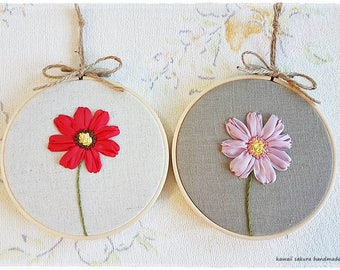Cosmos Flower Hand Embroidery in hoop Cosmos Flower Ribbon Embroidery Wall Art Pink Red