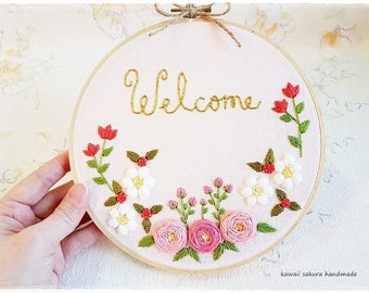 Welcome Hand Embroidery Hoop Wall Art Rose Daisy Garden Embroidery