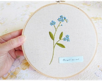 Forget Me Not Hand embroidery in hoop Wall Art blue flower