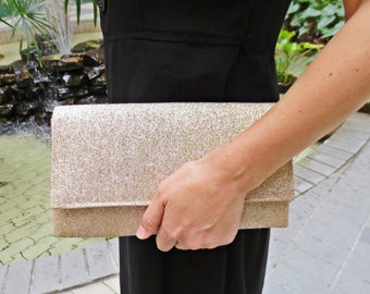 Sale 25% off Bridesmaids clutch, gold clutch shimmering sparkling glittering wedding bridal evening purse