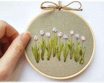 Tulip Flower Garden Hand Embroidery in hoop Ribbon Embroidery Wall Art