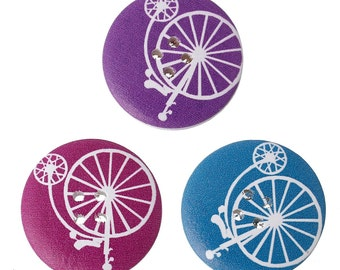5 White Painted Wood Button Four Hole - Penny Farthing Bicycle 30mm WPB58