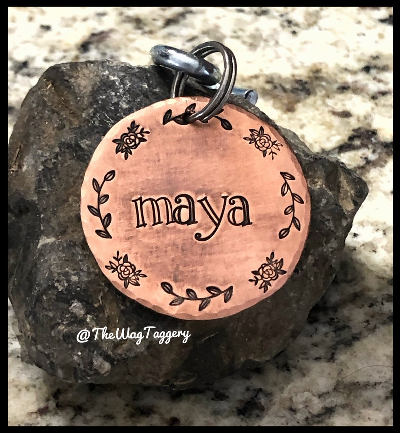 leaves and flower design Rustic and simple copper dog ID tag dog name tag pet collar tag dog mom dog dad