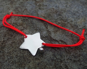 Engraved and small star link bracelet 925 sterling silver bead.