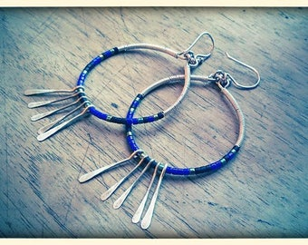 Blue earrings in silver 925 and glass beads.