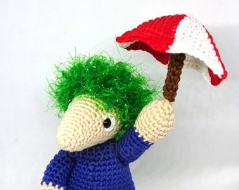 Lemmings doll video game with a crocheted cotton umbrella