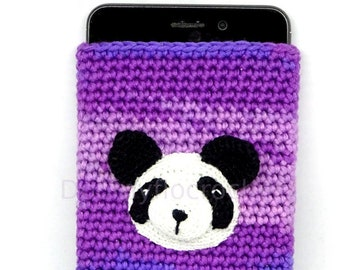 Panda head case for mobile phones in purple green crocheted cotton thread