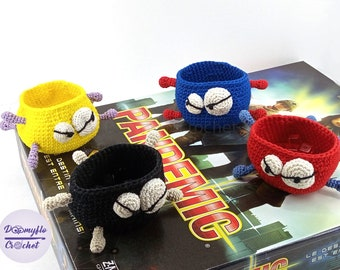 Pandemic cotton crocheted Virus bowls for cubes storage for boardgaming