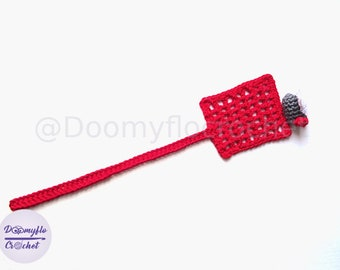 Bookmark with fly on red cotton swatter textile cotton crochet