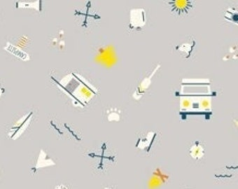 Around the Campfire Camp Gear Gray by Lemonni for Figo Fabrics Modern Quilting and Sewing Cotton Fabric Material Mountains Moons Trees